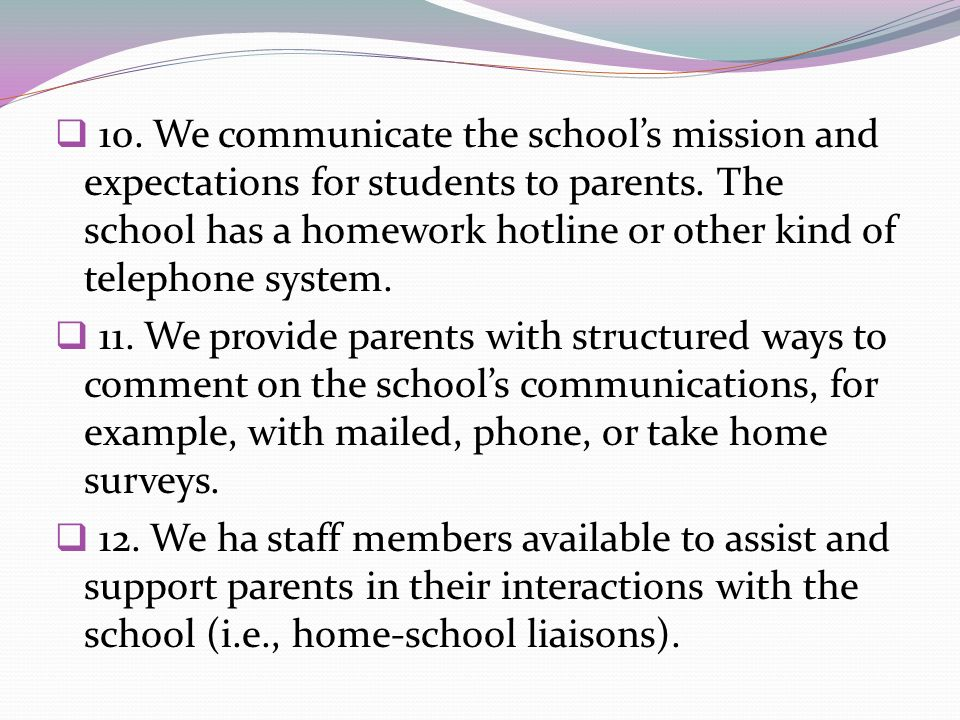 10. We communicate the school's mission and expectations for students to parents. The school has a homework hotline or other kind of telephone system.