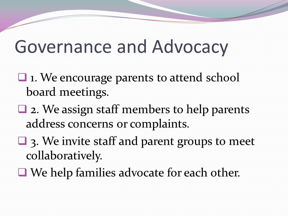 Governance and Advocacy