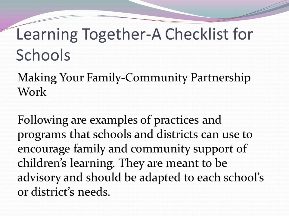 Learning Together-A Checklist for Schools
