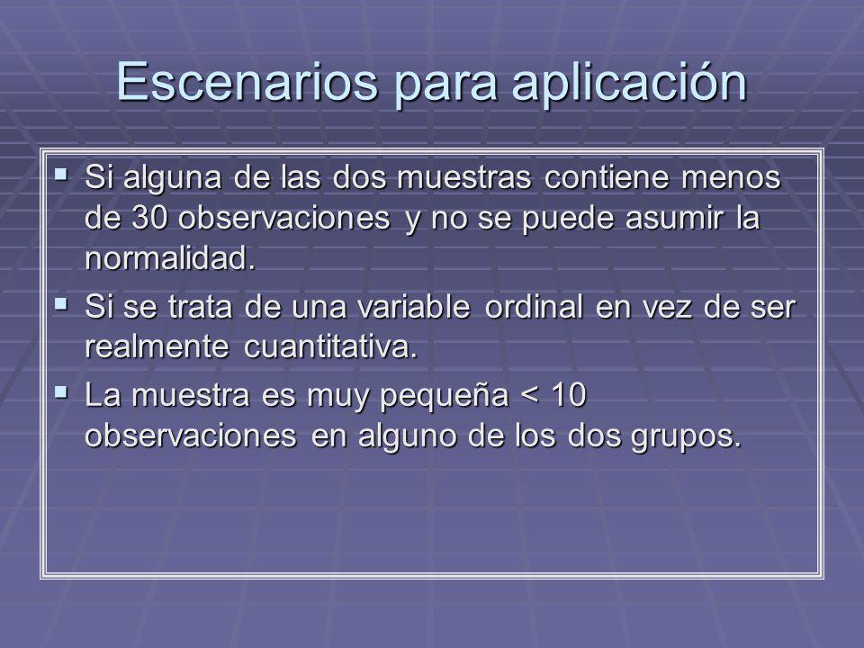 Escenarios para aplicación