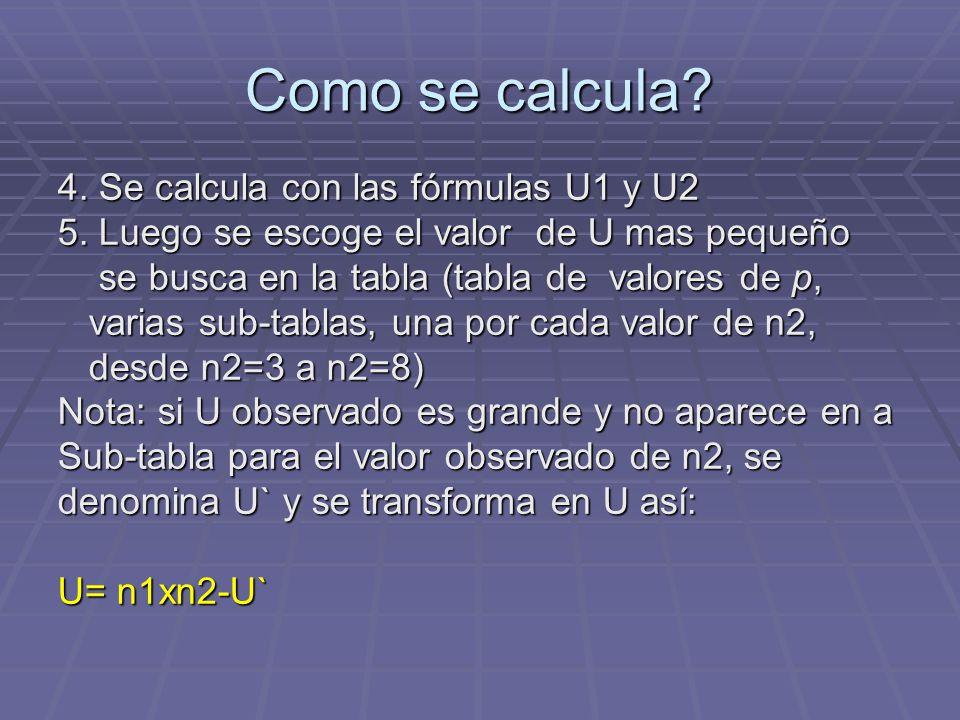 Como se calcula 4. Se calcula con las fórmulas U1 y U2