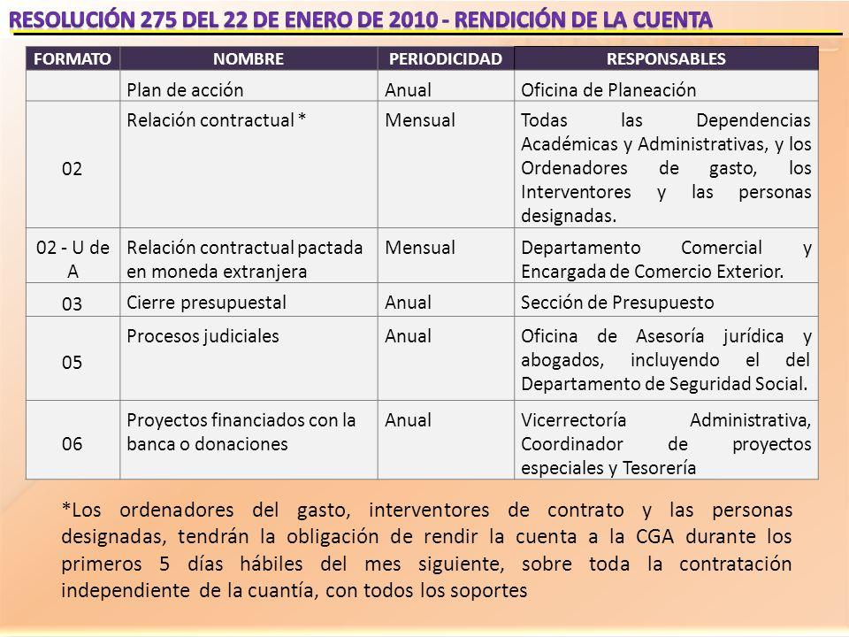 RESOLUCIÓN 275 DEL 22 DE ENERO DE 2010 - RENDICIÓN DE LA CUENTA