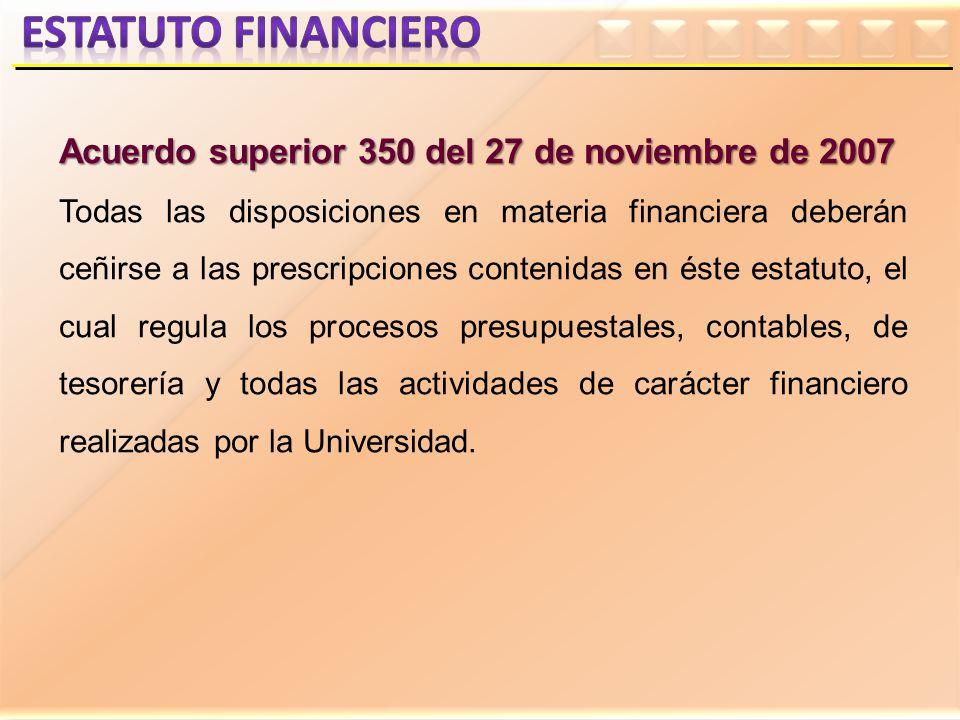 Estatuto financiero Acuerdo superior 350 del 27 de noviembre de 2007