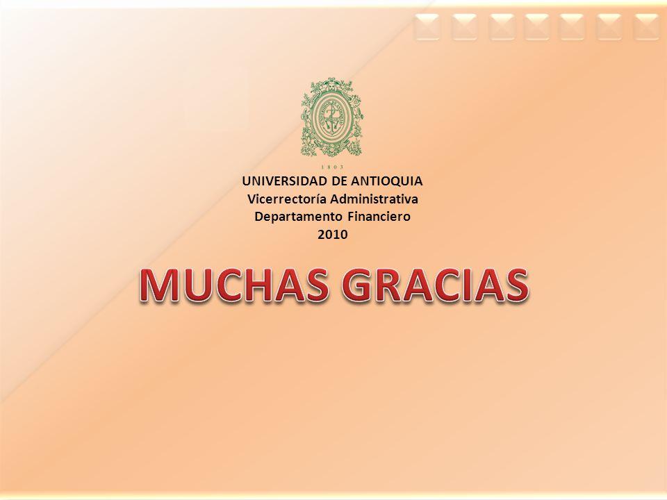 MUCHAS GRACIAS UNIVERSIDAD DE ANTIOQUIA Vicerrectoría Administrativa
