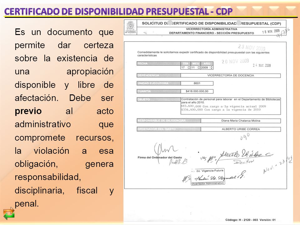 CERTIFICADO DE DISPONIBILIDAD PRESUPUESTAL - cDP