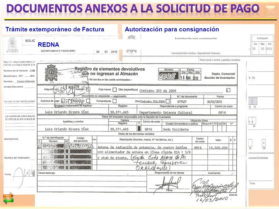 DOCUMENTOS ANEXOS A LA SOLICITUD DE PAGO
