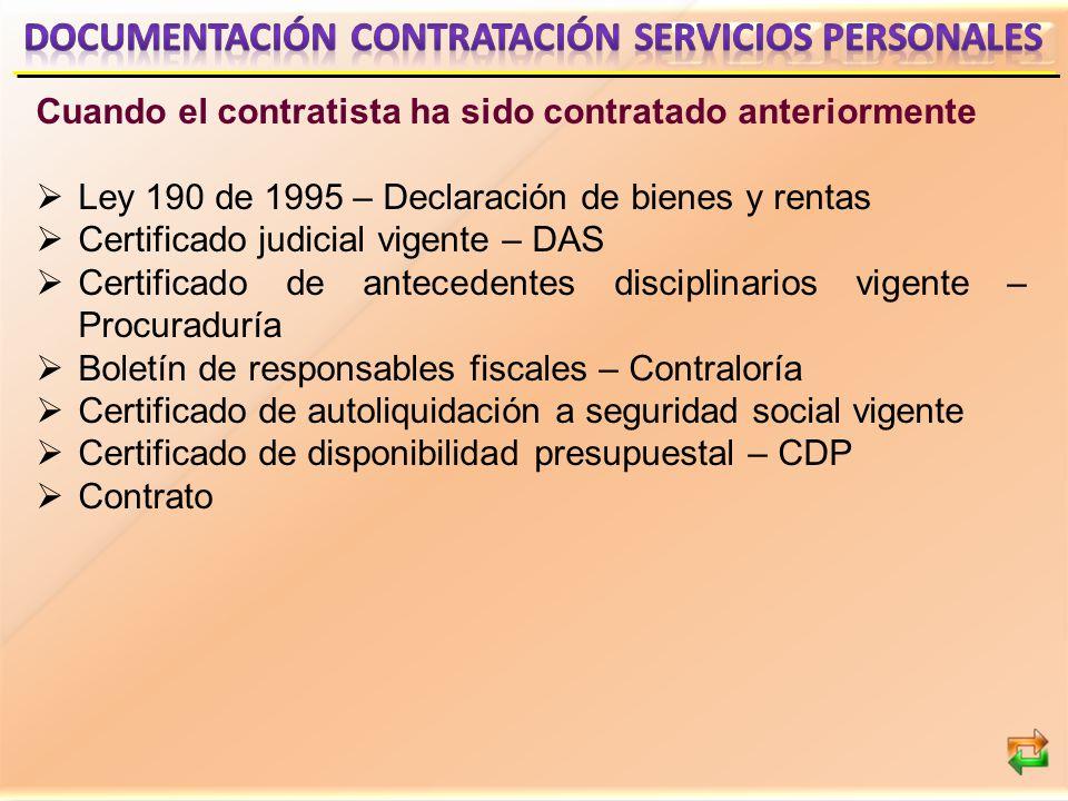 DOCUMENTACIÓN CONTRATACIÓN SERVICIOS PERSONALES