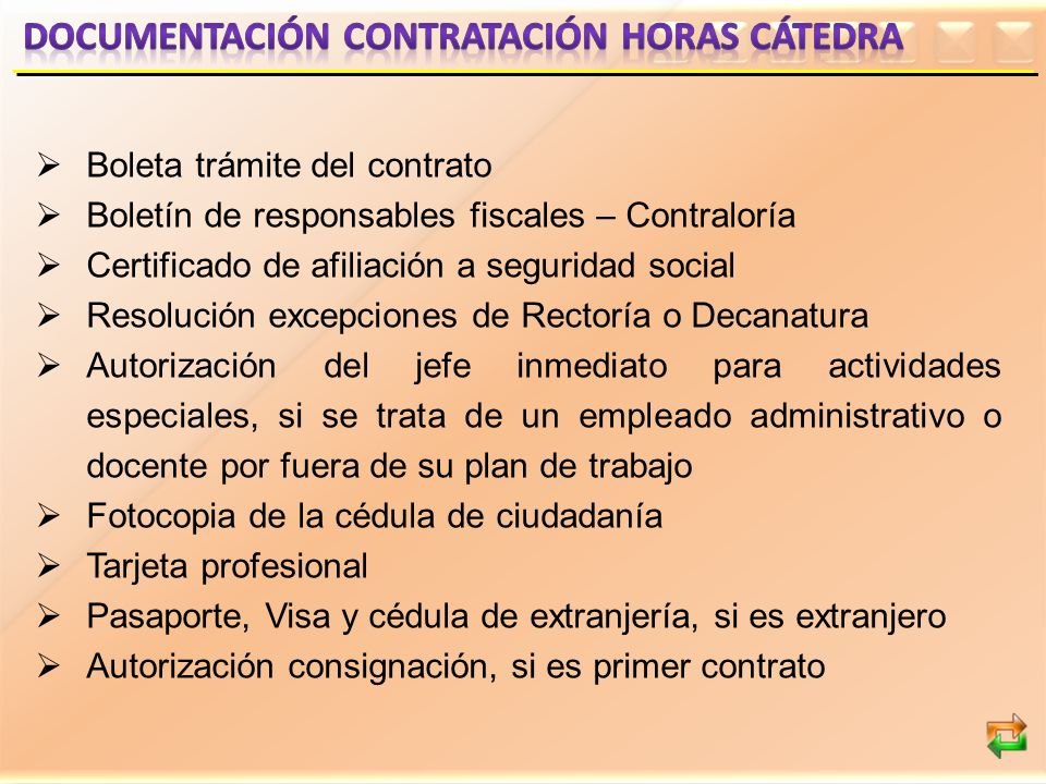 DOCUMENTACIÓN CONTRATACIÓN HORAS CÁTEDRA