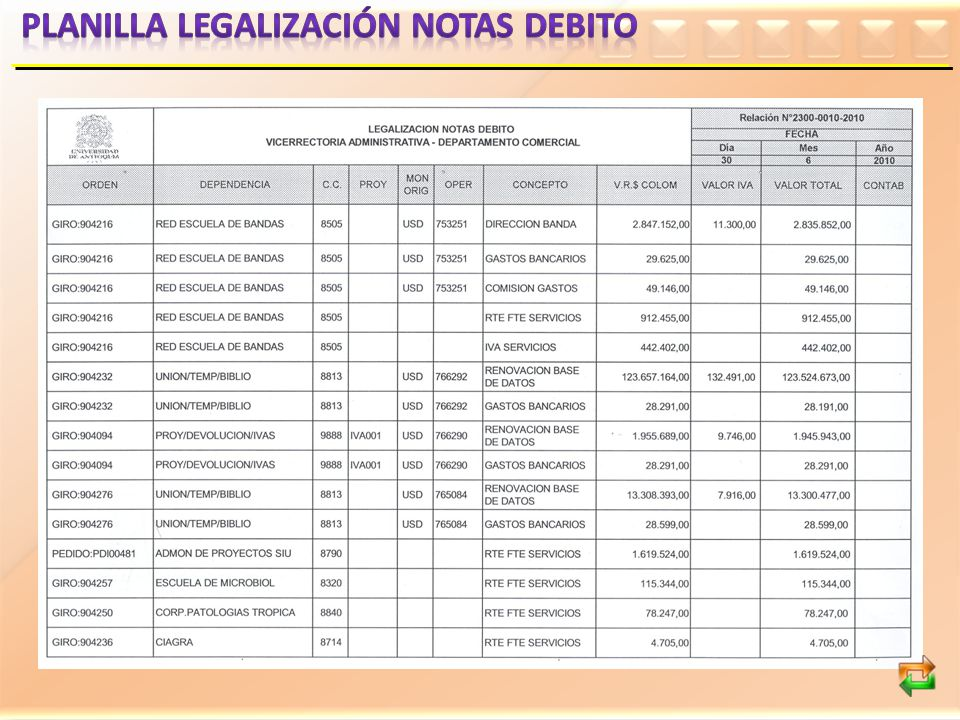 Planilla legalización notas debito