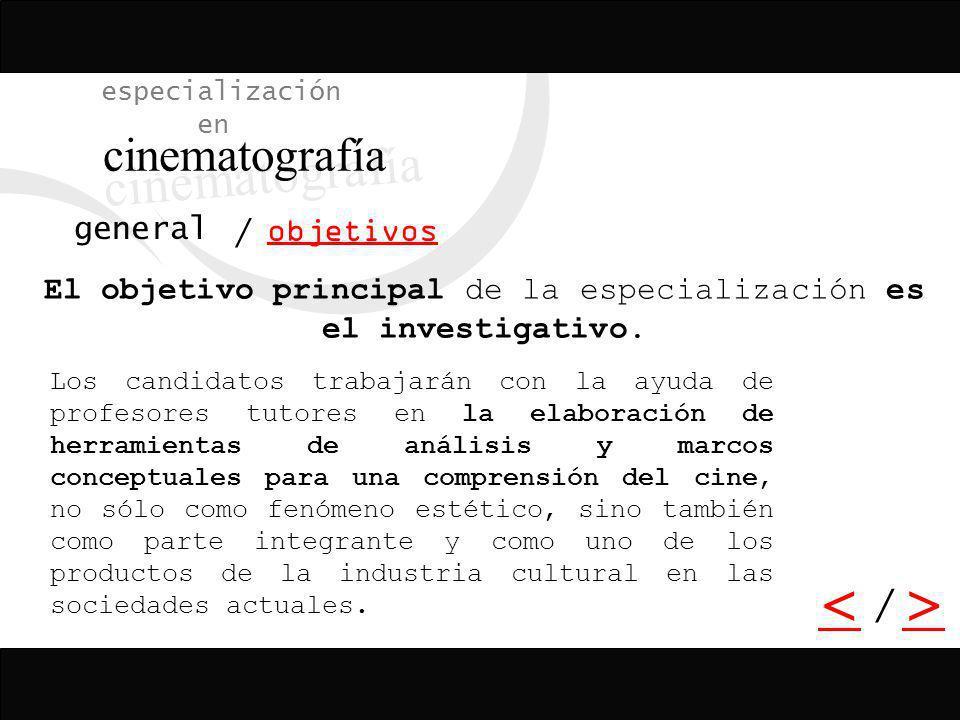 El objetivo principal de la especialización es el investigativo.