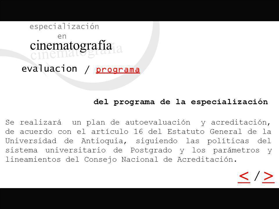 cinematografía < > / especialización en evaluacion / programa