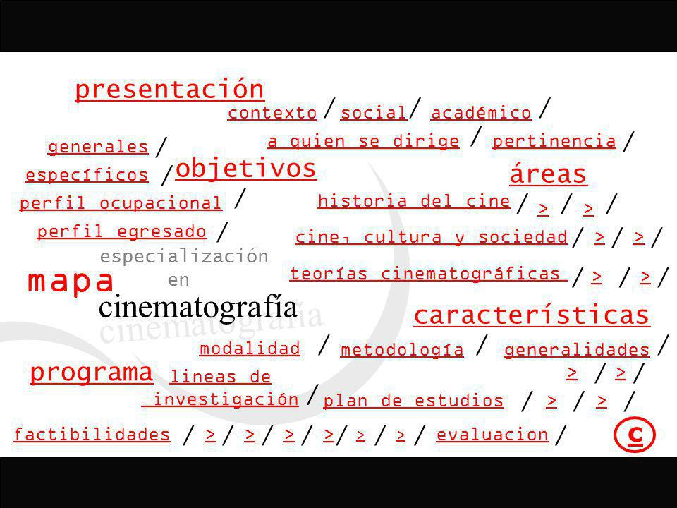 mapa cinematografía presentación objetivos áreas características