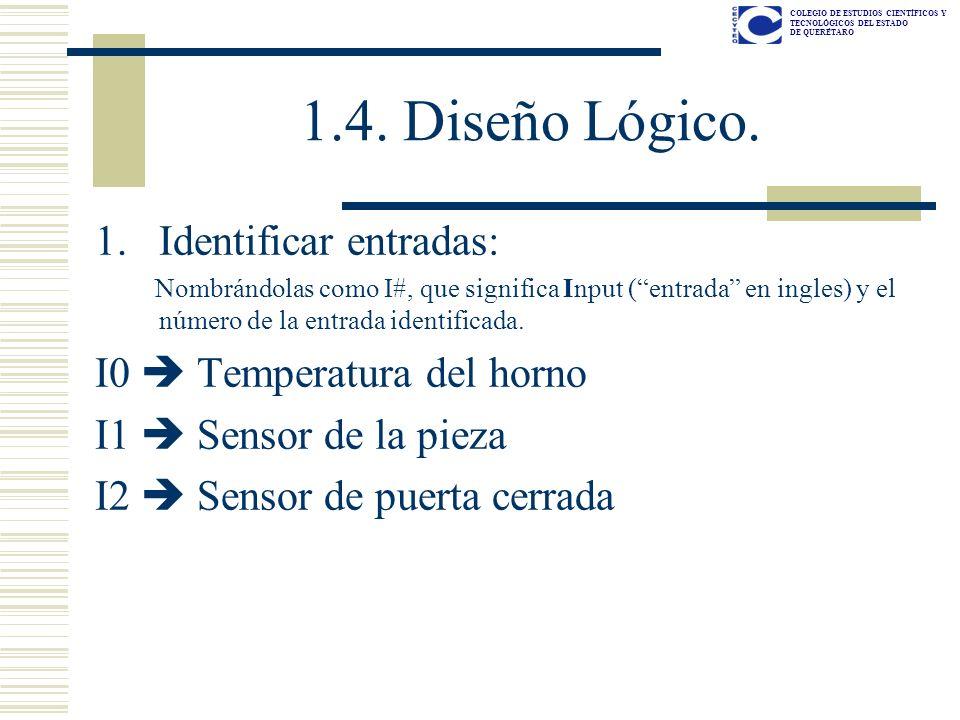 1.4. Diseño Lógico. Identificar entradas: I0  Temperatura del horno