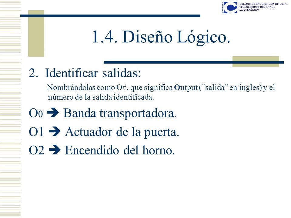 1.4. Diseño Lógico. 2. Identificar salidas: O0  Banda transportadora.
