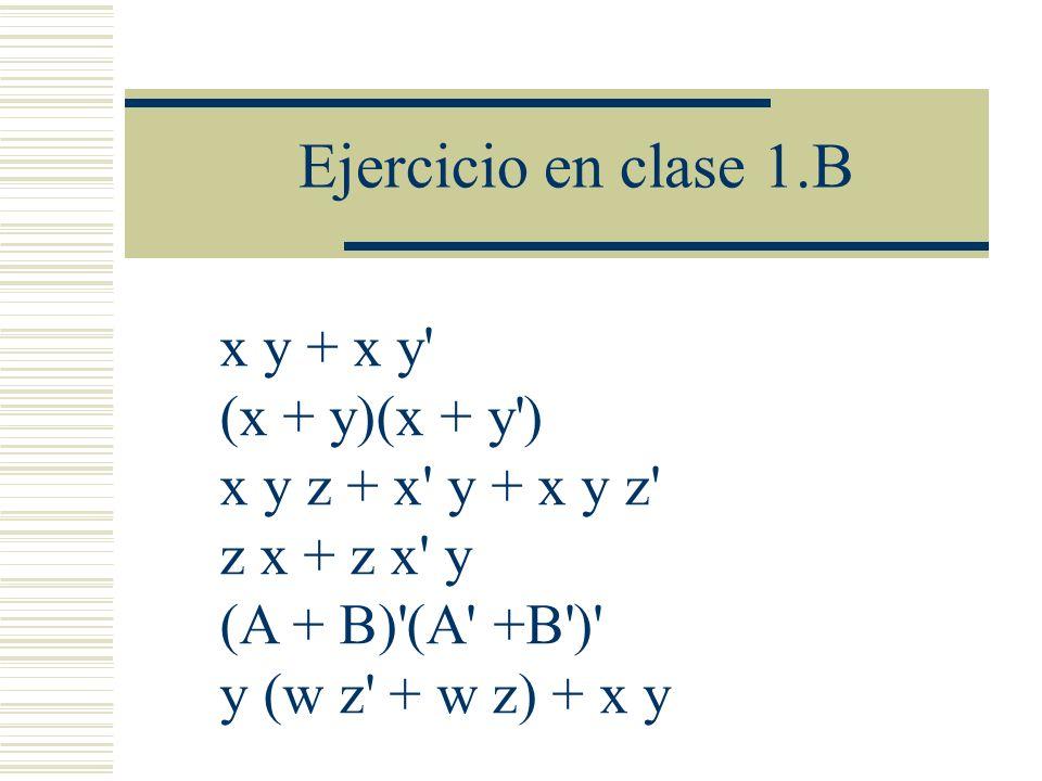 Ejercicio en clase 1.B x y + x y (x + y)(x + y )