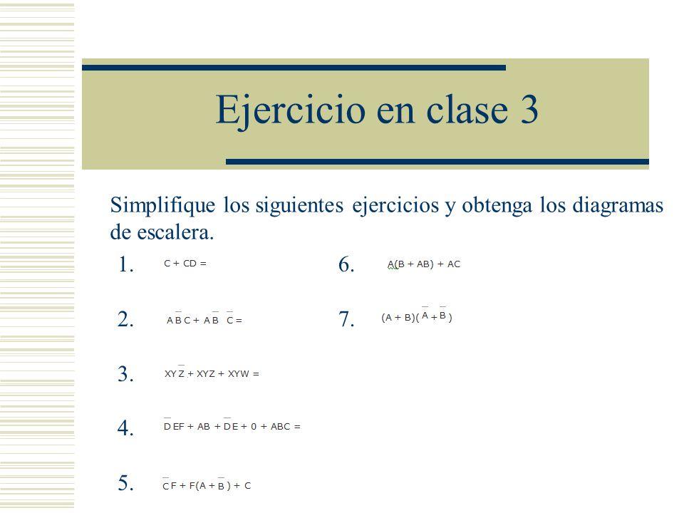 Ejercicio en clase 3 Simplifique los siguientes ejercicios y obtenga los diagramas. de escalera. 1.