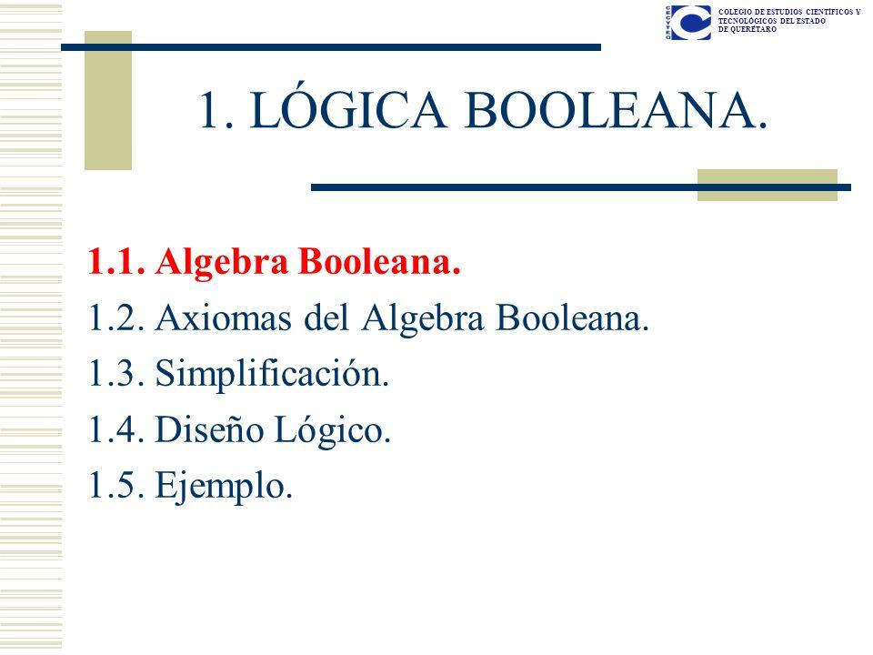 1. LÓGICA BOOLEANA. 1.1. Algebra Booleana.
