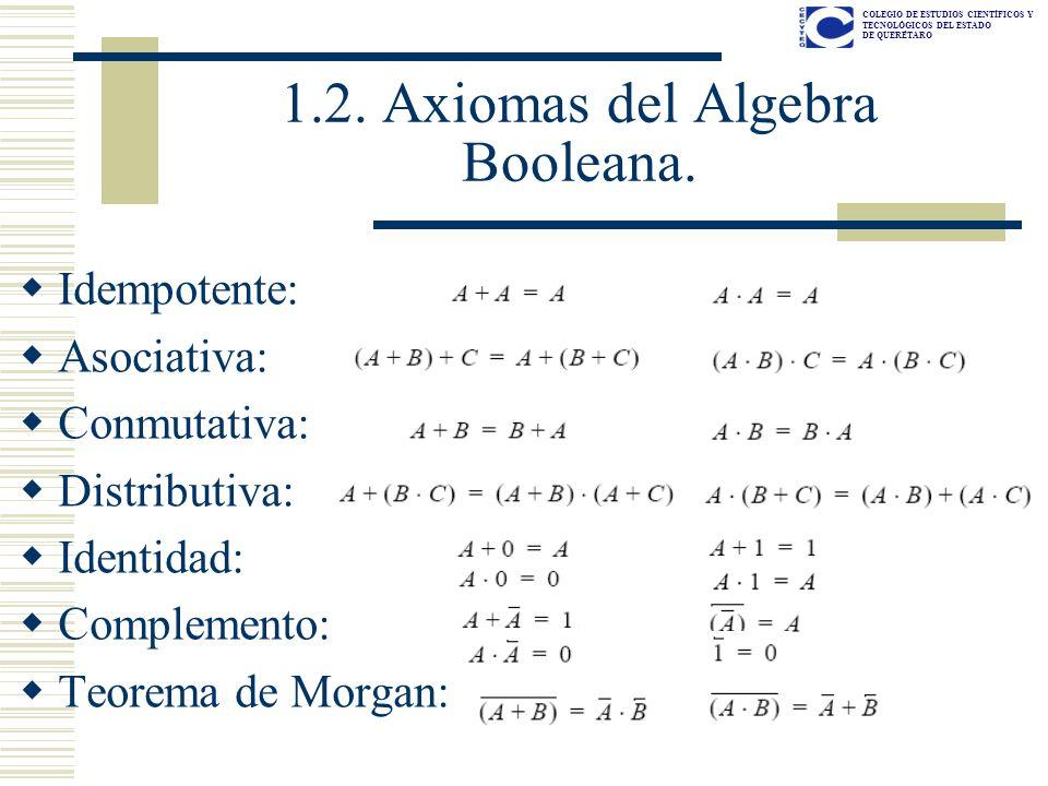 1.2. Axiomas del Algebra Booleana.