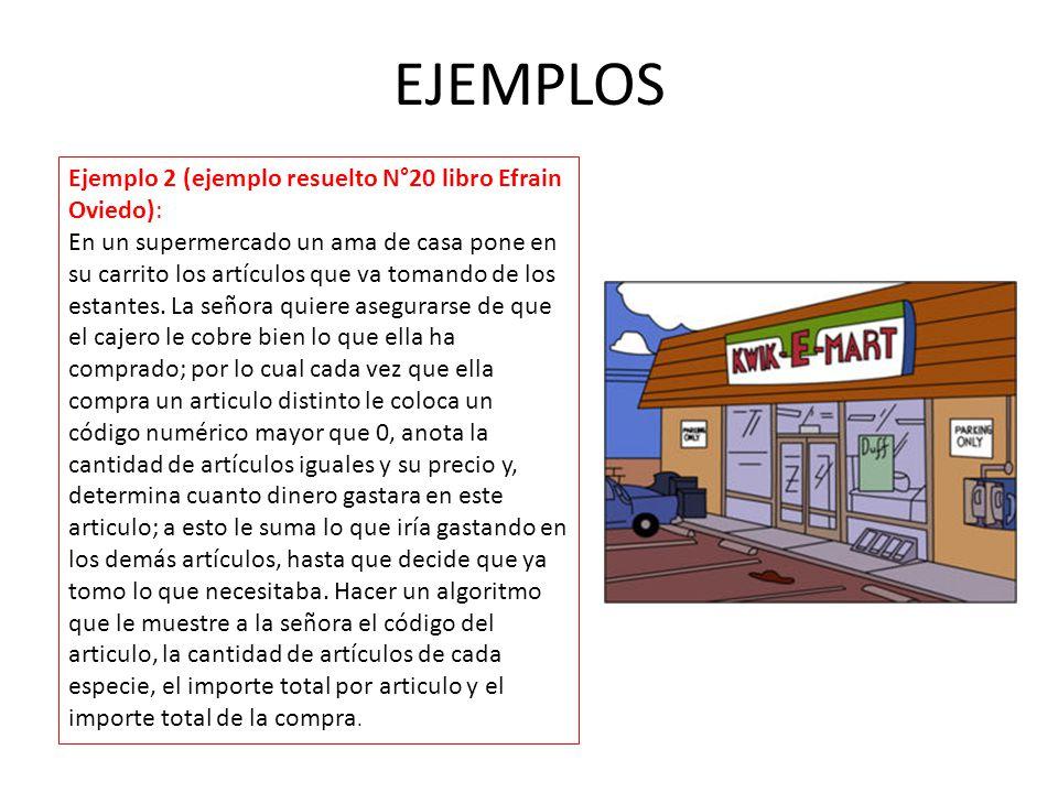 EJEMPLOS Ejemplo 2 (ejemplo resuelto N°20 libro Efrain Oviedo):