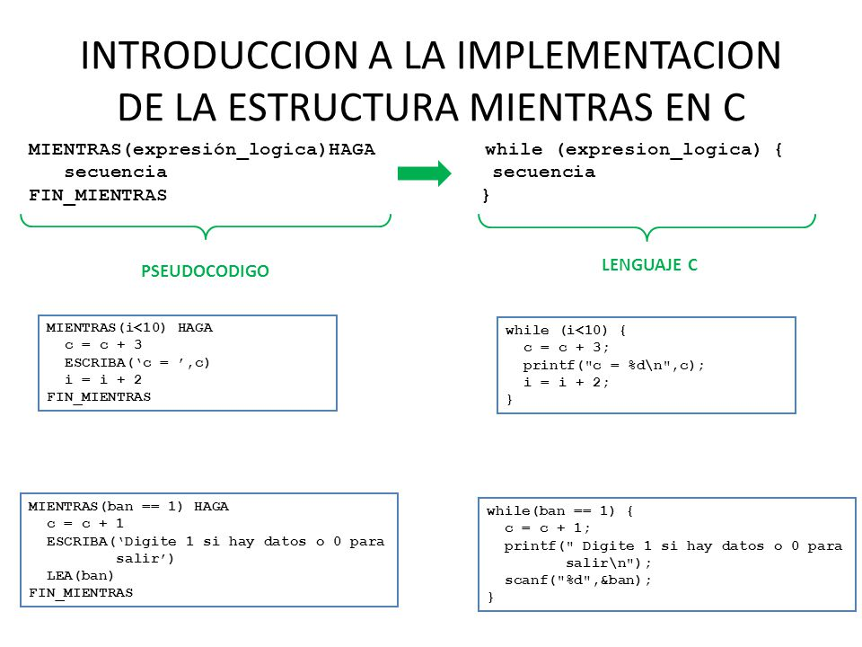 INTRODUCCION A LA IMPLEMENTACION DE LA ESTRUCTURA MIENTRAS EN C