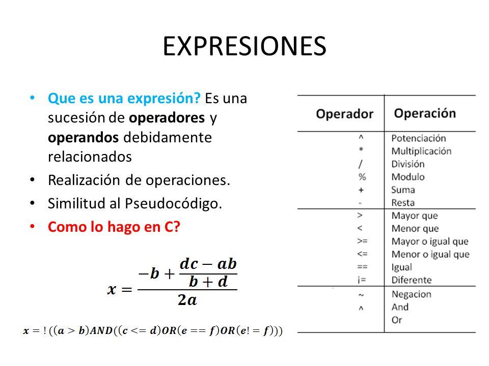 EXPRESIONES Que es una expresión Es una sucesión de operadores y operandos debidamente relacionados.