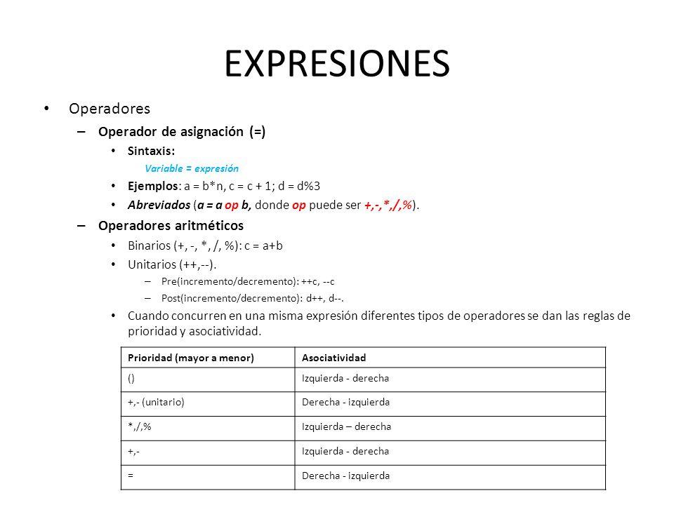 EXPRESIONES Operadores Operador de asignación (=)