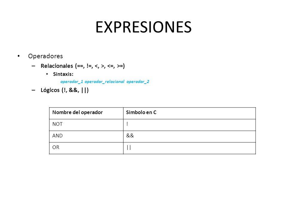 EXPRESIONES Operadores Relacionales (==, !=, <, >, <=, >=)