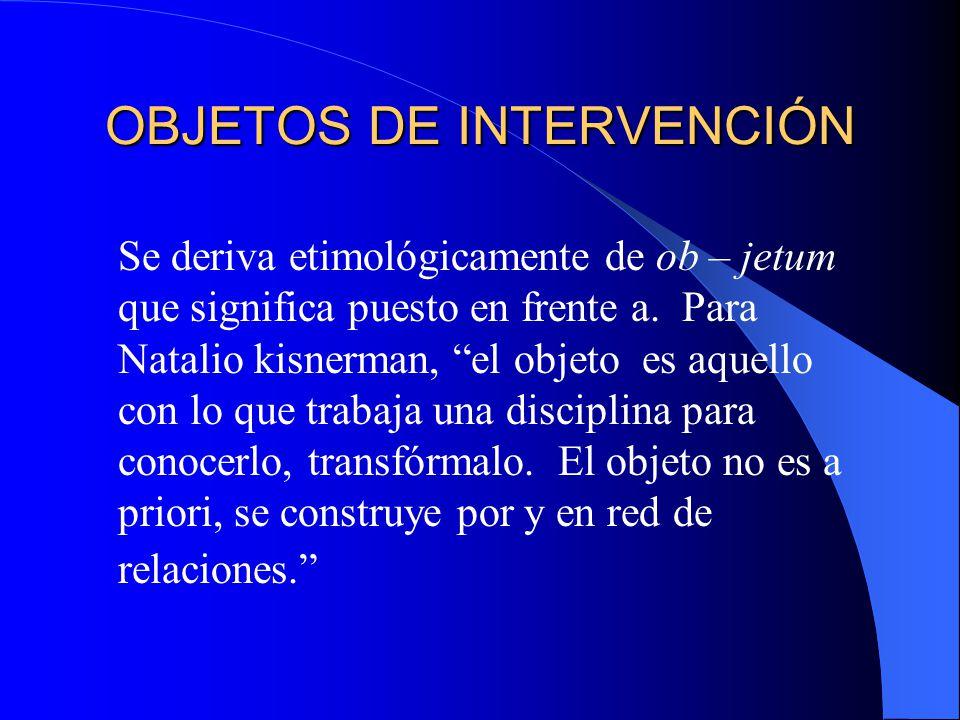 OBJETOS DE INTERVENCIÓN