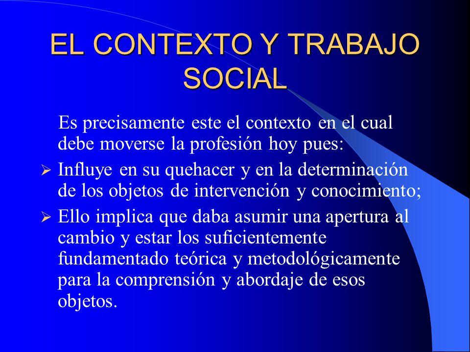 EL CONTEXTO Y TRABAJO SOCIAL