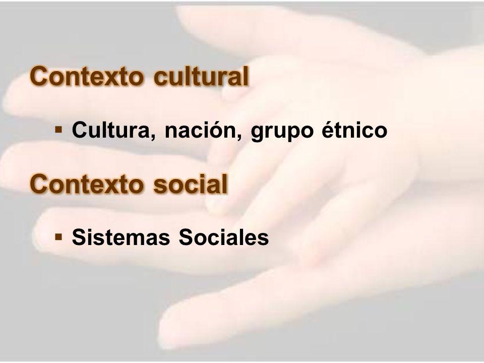 Contexto cultural Contexto social Cultura, nación, grupo étnico