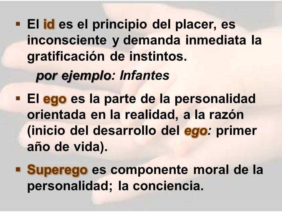 El id es el principio del placer, es inconsciente y demanda inmediata la gratificación de instintos.