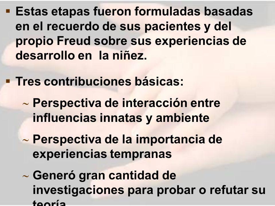 Estas etapas fueron formuladas basadas en el recuerdo de sus pacientes y del propio Freud sobre sus experiencias de desarrollo en la niñez.
