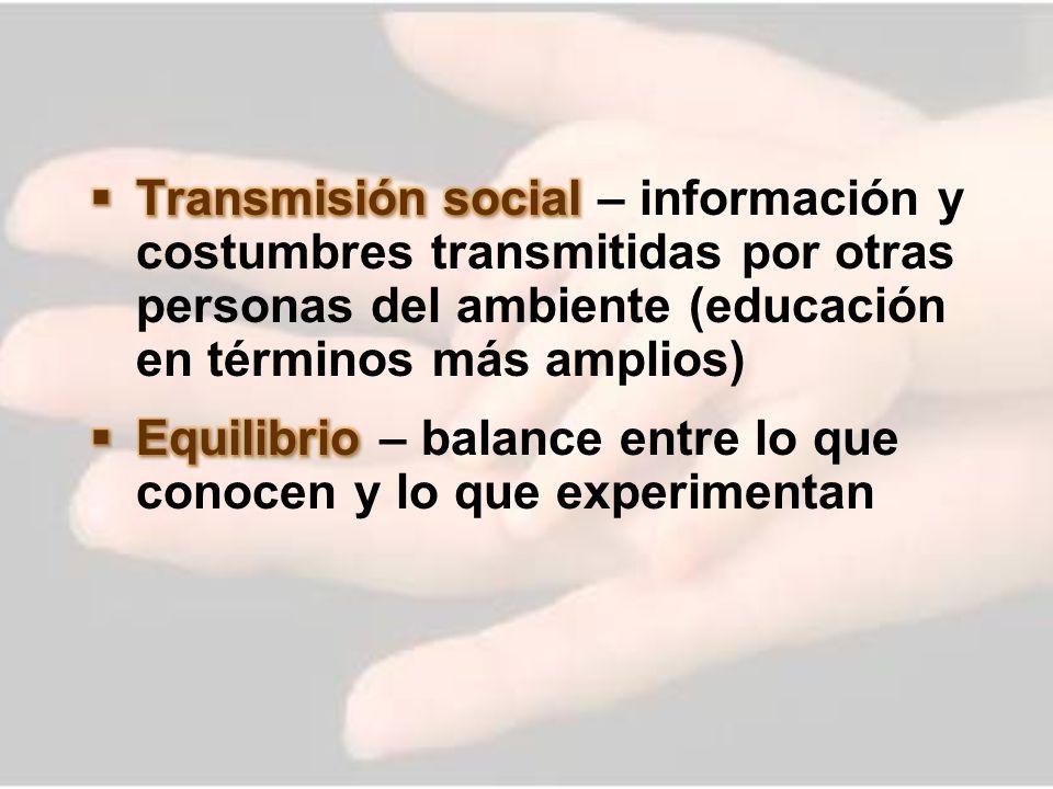 Transmisión social – información y costumbres transmitidas por otras personas del ambiente (educación en términos más amplios)