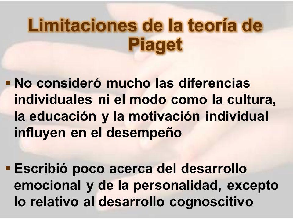 Limitaciones de la teoría de Piaget