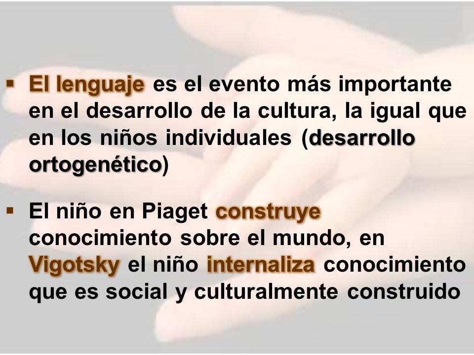 El lenguaje es el evento más importante en el desarrollo de la cultura, la igual que en los niños individuales (desarrollo ortogenético)