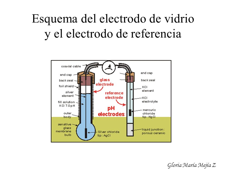 Esquema del electrodo de vidrio y el electrodo de referencia