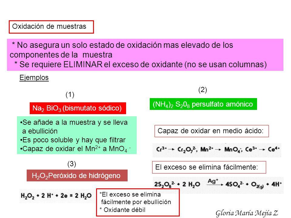 * Se requiere ELIMINAR el exceso de oxidante (no se usan columnas)