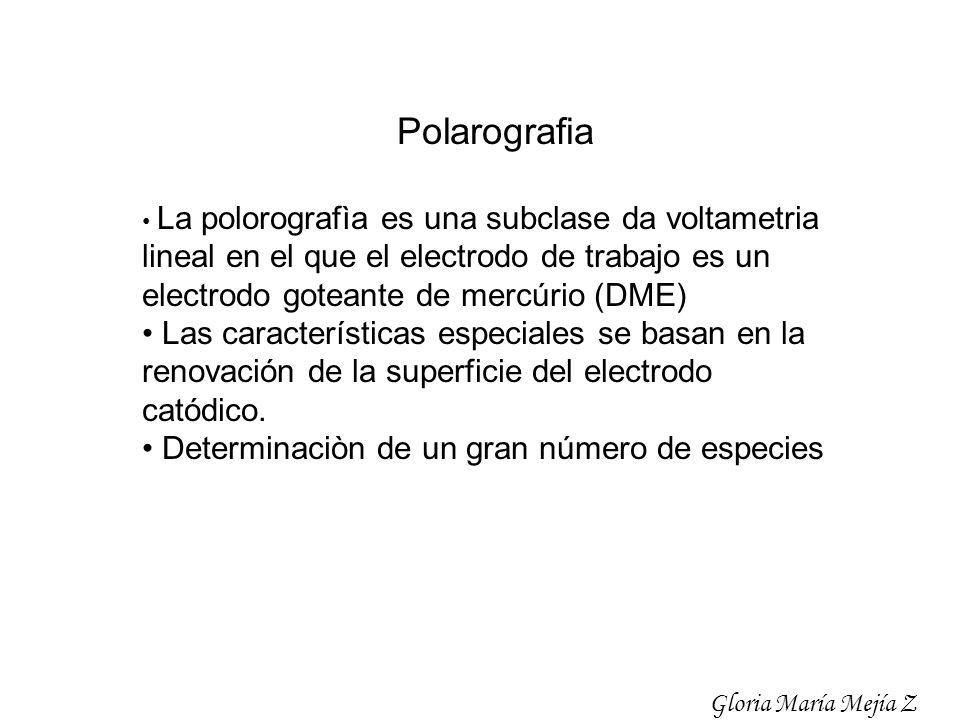 Polarografia • La polorografìa es una subclase da voltametria lineal en el que el electrodo de trabajo es un electrodo goteante de mercúrio (DME)