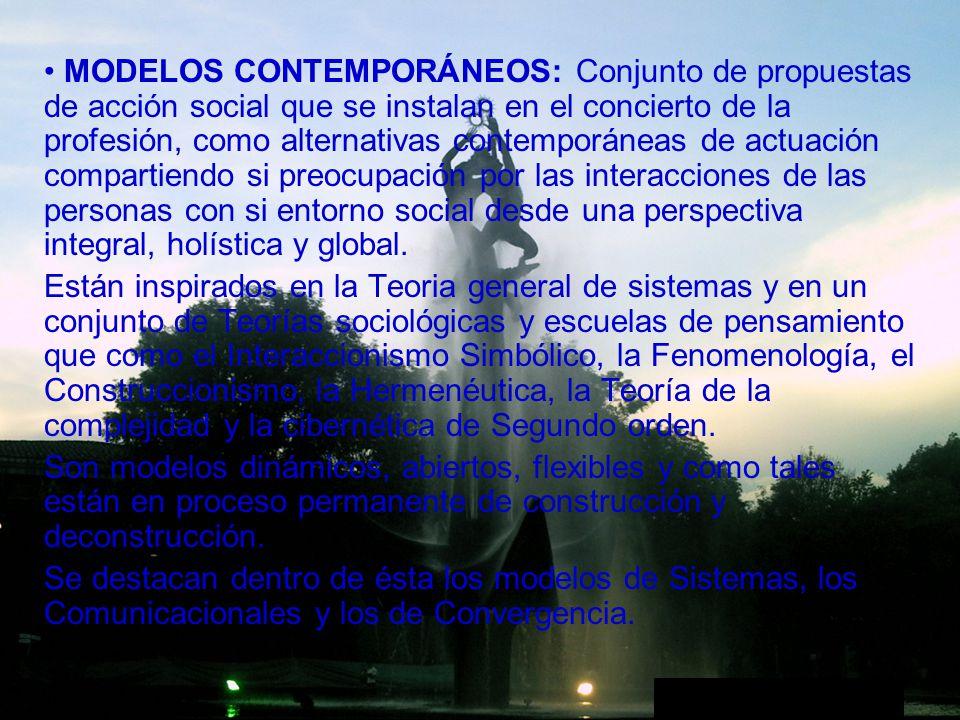 MODELOS CONTEMPORÁNEOS: Conjunto de propuestas de acción social que se instalan en el concierto de la profesión, como alternativas contemporáneas de actuación compartiendo si preocupación por las interacciones de las personas con si entorno social desde una perspectiva integral, holística y global.