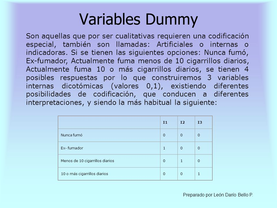 Variables Dummy
