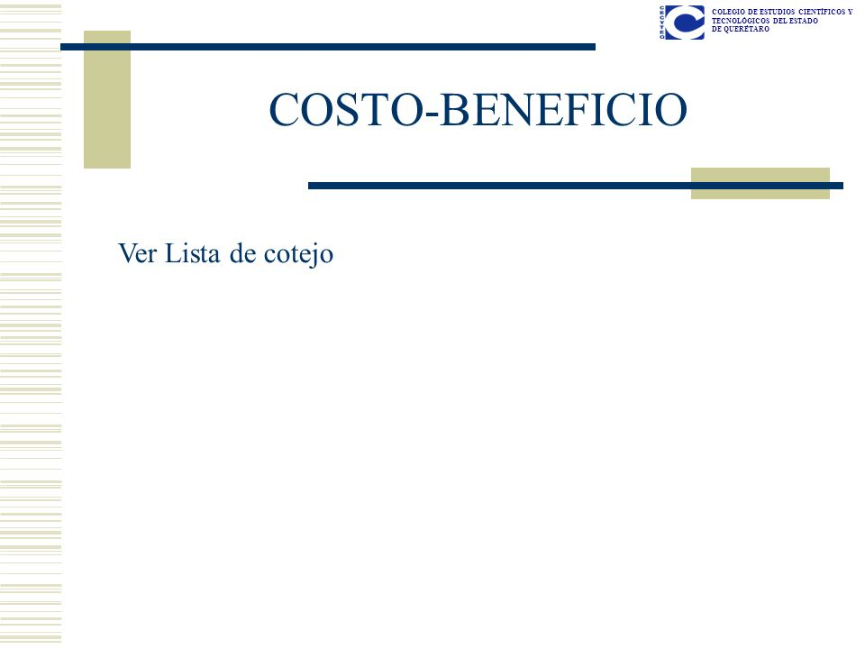 COSTO-BENEFICIO Ver Lista de cotejo