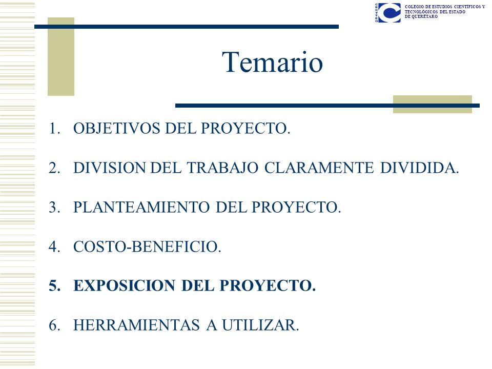 Temario OBJETIVOS DEL PROYECTO.