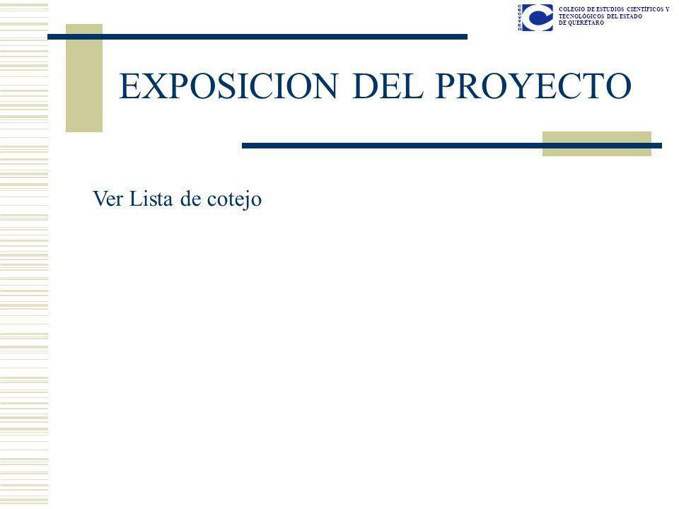 EXPOSICION DEL PROYECTO