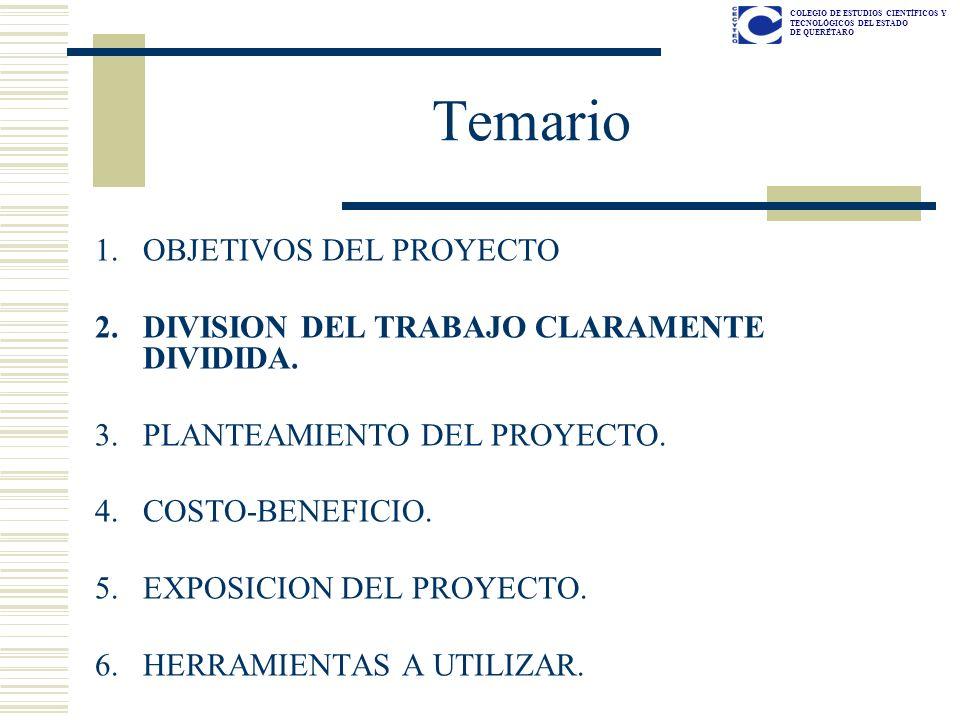 Temario OBJETIVOS DEL PROYECTO