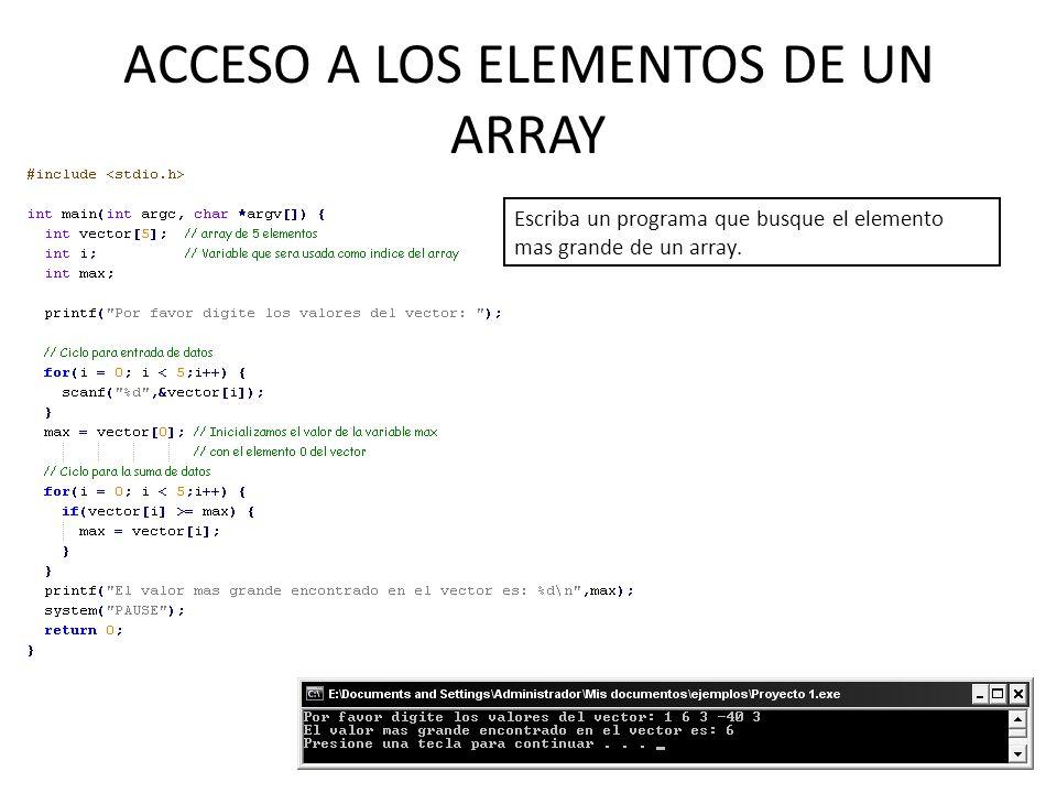 ACCESO A LOS ELEMENTOS DE UN ARRAY