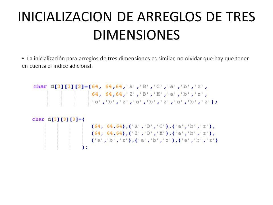 INICIALIZACION DE ARREGLOS DE TRES DIMENSIONES