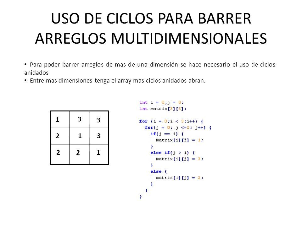 USO DE CICLOS PARA BARRER ARREGLOS MULTIDIMENSIONALES