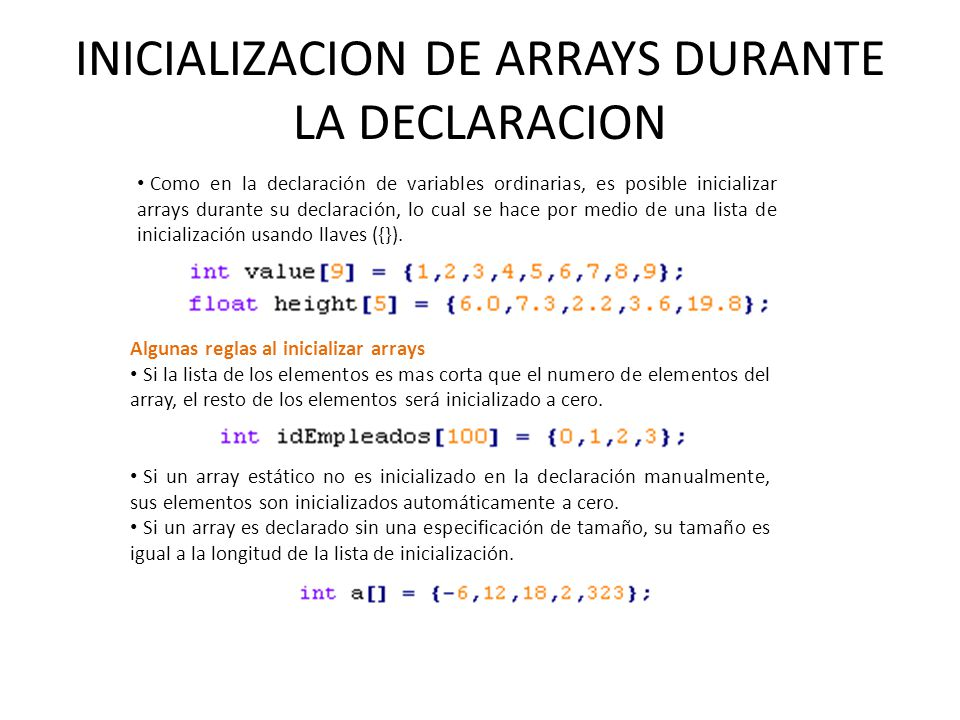 INICIALIZACION DE ARRAYS DURANTE LA DECLARACION