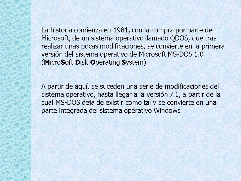La historia comienza en 1981, con la compra por parte de Microsoft, de un sistema operativo llamado QDOS, que tras realizar unas pocas modificaciones, se convierte en la primera versión del sistema operativo de Microsoft MS-DOS 1.0 (MicroSoft Disk Operating System)