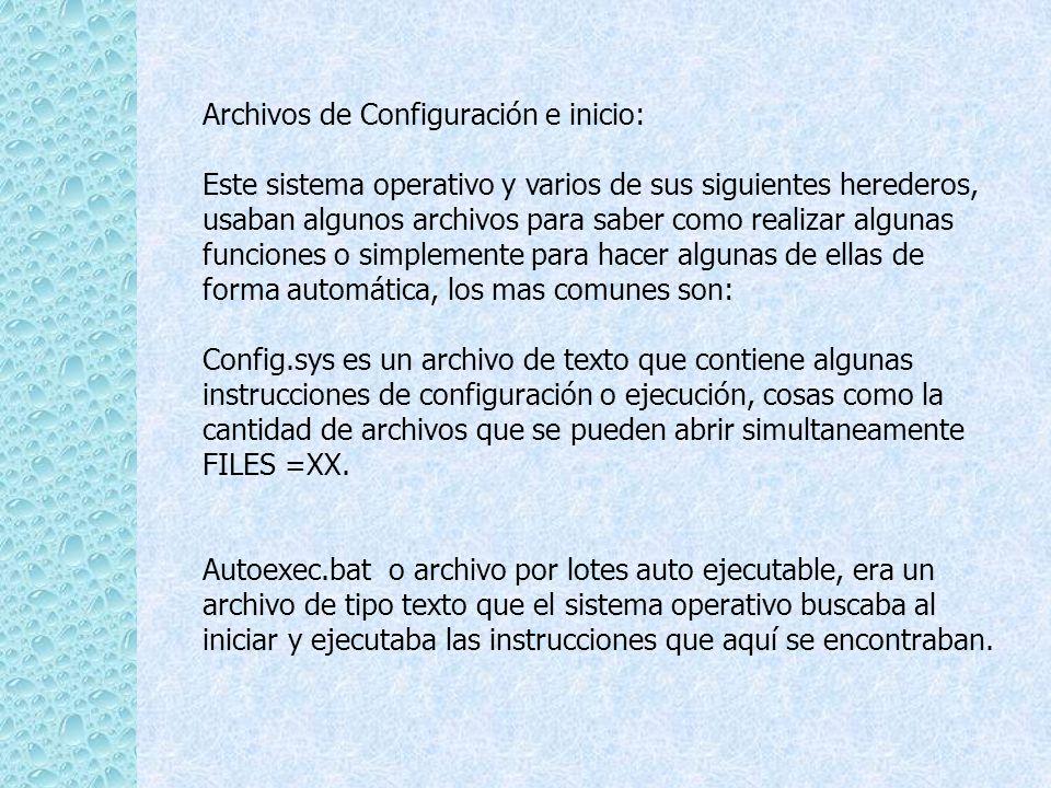 Archivos de Configuración e inicio: